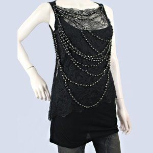 2009 Givenchy Black Lace Top w/Draped Beaded Front